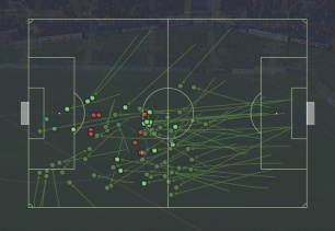 Aerial challenges/Pass Received v Everton