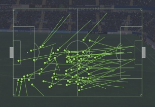69 Received passes v Everton